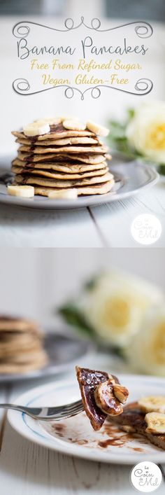 Banana Pancakes - Free From Refined Sugar, Vegan, Gluten-Free - Le Coin De Mel - These fluffy American Pancakes, or Banana Pancakes, are are full of flavours and easy to make. Homemade Pancakes, Vegan Pancakes, Banana Pancakes, Pancakes And Waffles, Vegan Gluten Free, Gluten Free Recipes, Dairy Free, Vegan Recipes, Delicious Recipes