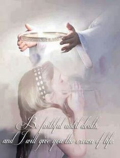 Be faithful unto death and I will give you the crown of life. Jesus putting crown on little girl. Christian Life, Christian Quotes, Bible Scriptures, Bible Quotes, Wisdom Bible, Padre Celestial, Bride Of Christ, Prophetic Art, Daughters Of The King