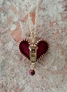 Zipper Heart Necklace by ShopLuLuRo on Etsy, $30.00