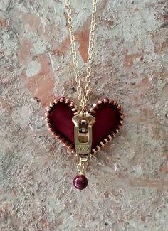 Zipper Heart Necklace by ShopLuLuRo on Etsy, $30.00