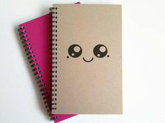 Writing journal, spiral notebook, cute diary, small sketchbook, scrapbook, memory book, 5x8 journal - Cute Kawaii face, from JournalandCompany on Etsy.