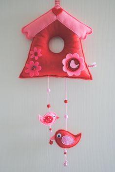 vogelhuisje rood / roze