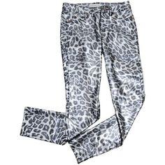 Animal Print Jeggings | $12.8 | Trendy Cheap | Pants | Black Foil |... ($1,280) ❤ liked on Polyvore