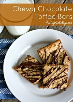 Chewy Chocolate Toffee Bars - www.thelilypadcottage.com