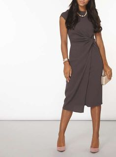 **Luxe Charcoal Ruched Dress - View All Clothing & Shoes - Clothing - Dorothy Perkins Europe
