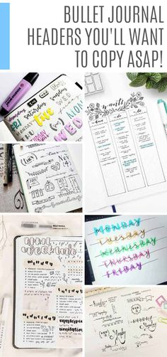 journal ideas layout weekly easy 25 Bullet Journal Headers You Need to Try ASAP to Liven Up Your BUJO! These bullet journal headers are super creative and easy for you to copy into your own BUJO to bring your weekly spreads and collections to life! Keeping A Bullet Journal, Bullet Journal Font, Bullet Journal School, Bullet Journal Printables, Bullet Journal Hacks, Bullet Journal Themes, Bullet Journal Spread, Bullet Journal Inspiration, Journal Ideas