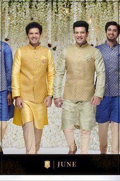 Manyavar brings you a wide range of designer Indian ethnic wear like kurta pajamas, Indo-western outfits, traditional sherwanis & wedding wear for men. Get the most elegant Indian traditional look this wedding season. Indian Wedding Clothes For Men, Sherwani For Men Wedding, Wedding Dress Men, Wedding Suits, Kurta Pajama Men, Kurta Men, Dress Suits For Men, Men Dress, Ysl