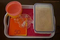 Math: Measurement    Supplies  A container of rice, a bowl (or 2), a measuring cup, a scoop, and cards with printed measurements      How it's Done  Child selects a measurement card, matches the number on the measuring cup, then uses the scoop to fill the cup with rice to that unit.  Then the rice is transferred to the bowl, where they can work on a second measurement.