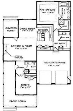 Country Style House Plan - 2 Beds 2 Baths 1539 Sq/Ft Plan #413-786 Floor Plan - Main Floor Plan - Houseplans.com