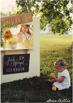 Where my entrepreneurial spirit began! This photo represents my childhood, I love the lemonade stand concept, gorgeous chalk board idea too!