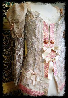 cream nude pink & gold marie antoinette sequin lace jacket by mermaid miss k. $140.00, via Etsy.