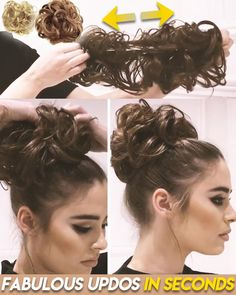 Bun Hairstyles For Long Hair, Hairdos, Updos, Curly Hair Styles, Natural Hair Styles, Hair Cutting Techniques, Curly Bun, Hair Volume, Hair Tie