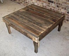 Large Square Rustic Reclaimed Wood Coffee Table With Shelf 35 X 35 X 17 High 385 00 Via Etsy Old To New Pinterest R