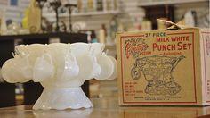Anchor milk-glass punchbowl set