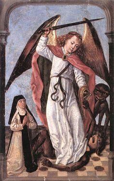 Archangel Michael Fighting Demons, Master of the Legend of St Ursula, 1480-1500.