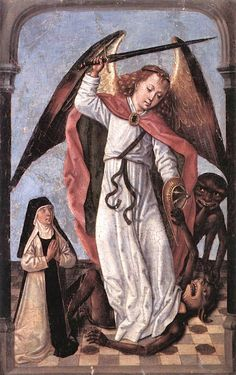 Archangel Michael Fighting Demons, Master of the Legend of St Ursula, 1480-1500.