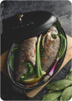 Kräuterbarsch aus dem Ofen mit Gratin Dauphinois, Kartoffelgratin