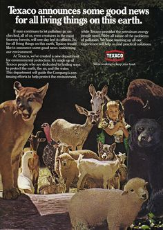 """So we're dumping large predators, their prey, domesticated animals, and little kids into one overcrowded nature preserve."" (Funny bad retro oil company ads)"