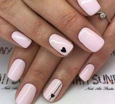 31 Amazing short nail design for fall - Nail Art Design - Manicure ideas 💅 Pink Nail Art, Cute Acrylic Nails, Cute Nails, My Nails, Fall Nails, Heart Nails, White Shellac Nails, Spring Nails, Fall Nail Art Designs