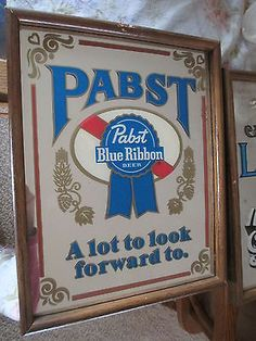 "Vintage Pabst Blue Ribbon Beer Bar Mirror ""A Lot to Look Forward to"" Man Cave Pabst Blue Ribbon, Beer Bar, Bar Signs, Brewing Co, Brewery, That Look, Mirror, Man Cave, Cheers"