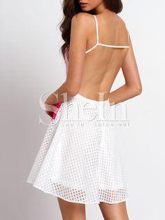 Vestido con vuelo floral espalda abierta-blanco-Spanish SheIn(Sheinside)