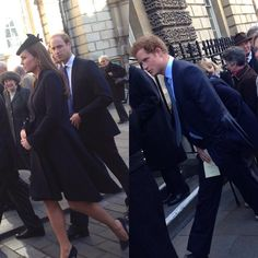 Photo of Kate, William and Harry at today's service in Bath. William, Kate & Harry are attending a memorial service for Richard Meade.