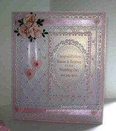 Wedding Day Card - in white/pink with glittering pale pink using #Spellbinders…