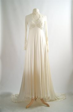 Vintage 1970s Wedding Dress  Victorian Style by xtabayvintage