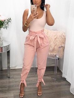 Shop Stylish Solid Frill Waist Belted Tied Ankle Casual Pants right now, get great deals at Chiquebabe Look Fashion, Cute Fashion, Fashion Outfits, Womens Fashion, Fashion Trends, Feminine Fashion, Fashion Ideas, Ladies Fashion, Cheap Fashion