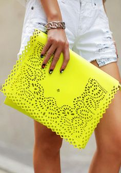 Eyelet Flap Clutch- Neon Yellow @LookBookStore