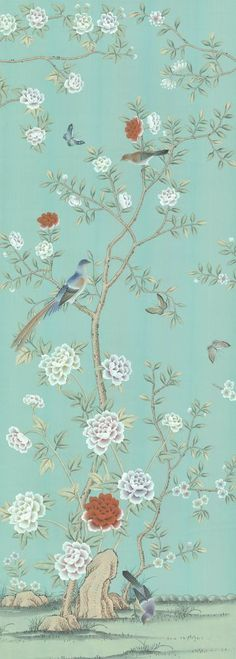 Chinoiserie Handpainted Silk Wallpaper: Grand View Garden…