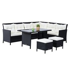 Inspirational Sitzgarnitur Sitzgruppe Gartenset Sofagarnitur Gartenm bel Set Lounge Polyrattan Schwarz