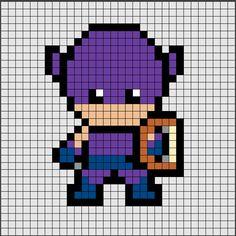 Patrón de Hama Beads Midi de Ojo de Halcón [HawkEye], uno de los protagonistas Los Vengadores de MARVEL 🏹🏹.  Si quieres saber como se hace, ya sea en Hama Beads o Pixel Hobby, haz click en el enlace.