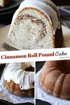 This Cinnamon Roll Pound Cake from Grandbaby Cakes is incredibly buttery, sweet and swirled with cinnamon. The texture is soft and moist. Perfection! #cinnamonrollpoundcake #easycakerecipe #cinnamoncake #poundcakerecipe #cinammonrollcake #bestcakerecipe #cinnamonpoundcake Cinnamon Pound Cake Recipe, Pound Cake Recipes, Easy Cake Recipes, Dessert Recipes, Bunt Cakes, Cupcake Cakes, Cupcakes, Almond Pound Cakes, Bowl Cake