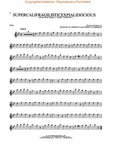 Flute sheet music: Supercalifragilisticexpialidocious from Mary Poppins Clarinet Sheet Music, Violin Music, Piano Sheet Music, Cello, Music Sheets, Music Jokes, Music Humor, Partition Disney, Flute Quotes