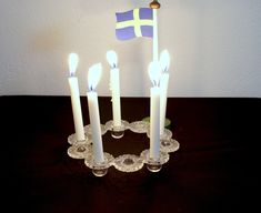 Vintage Swedish Glass Candle Wreath by Royal Krona by DeeGeeRetro on Etsy