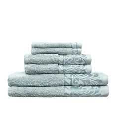 Look at this Aqua Jacquard Scroll Bath Towel Set on #zulily today!