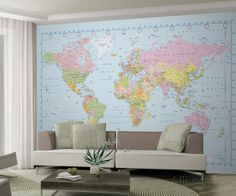 World Map Wallpaper Mural Mural de papel de parede na AllPosters.com.br