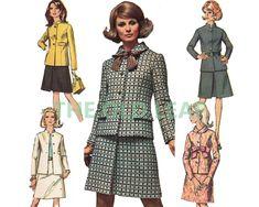 Sewing Pattern for 60s Suit - Skirt & Jacket, Designer Fashion Simplicity 7862 #60sFashion #1960sDesignerSuit #NehruJacket #FlatCollarJacket #JackieO #JackieKennedy #TheOldLeaf