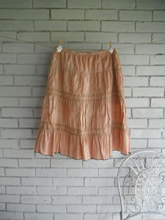 bohemian skirt faded rust skirt hand dyed boho by ShabbyRoad