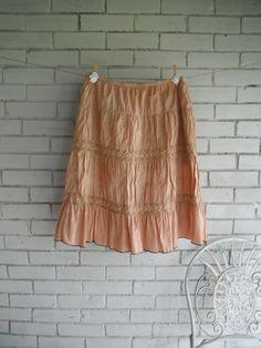 bohemian skirt faded rust skirt hand dyed boho by ShabbyRoad