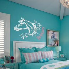 Personalized Horse Decal Wall Decal Horse Vinyl Wall Decal Name and Horse Girls Bedroom Decal Horse Nursery Girls Wall Decal Vinyl Horse by TheVinylGraphixGeek on Etsy