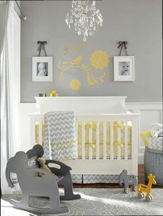 I love the idea of gray walls and furniture and all you'd have to do is add in other colors depending on the gender.