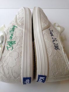 hand embroidered Keds  wedding shoes custom embroidery