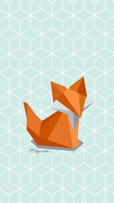 Fond d'écran renard en origami La Capuciine
