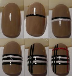 How to do Burberry nails: The post How to do Burberry nails: appeared first on nageldesign. Get Nails, Fancy Nails, Love Nails, How To Do Nails, Pretty Nails, Hair And Nails, Nail Art Rosa, Nail Lacquer, Nail Polish