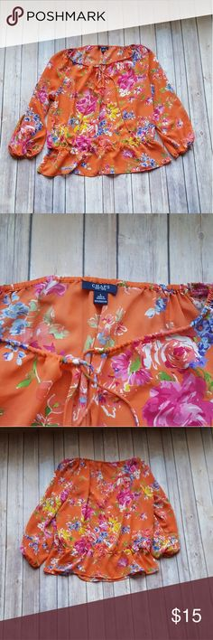 Chaps Floral Peasant Top In excellent condition  Chaps orange Floral Peasant top 100% lightweight polyester  Size large Top drawstring with stretchy bottom Chaps Tops
