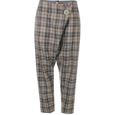 Vivienne Westwood Anglomania Tartan Double Front Flap Trousers (3,080 CNY) ❤ liked on Polyvore featuring pants, capris, tartan plaid pants, foldover pants, tartan trousers, cropped trousers and relaxed fit pants