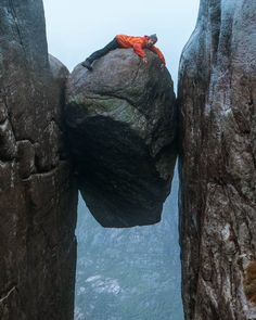 """A stone in a crack! 😁😓 """"Kjeragbolten"""" hangs over a ft) deep abyss that ends in the fjord """"Lysebotn"""". I am Norwegian and… Van Life, Deep, Stone, Water, Outdoor, Instagram, Gripe Water, Outdoors, Rock"""