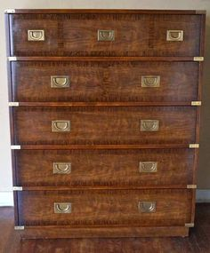 Vintage Campaign 5-Drawer Highboy Dresser by Drexel $500